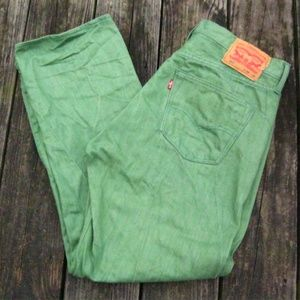 LEVIS 501 Green Denim Jeans Size 36x30 Button Fly